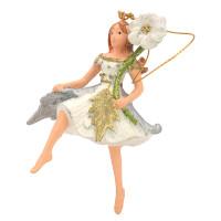 Christbaumschmuck Figur Blumenkind Blumenmädchen Baumschmuck Elfe silber