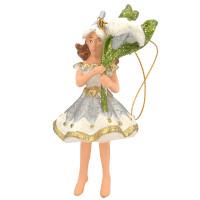 Christbaumschmuck Figur Blumenkind Blumenmädchen Baumschmuck Elfe weiß