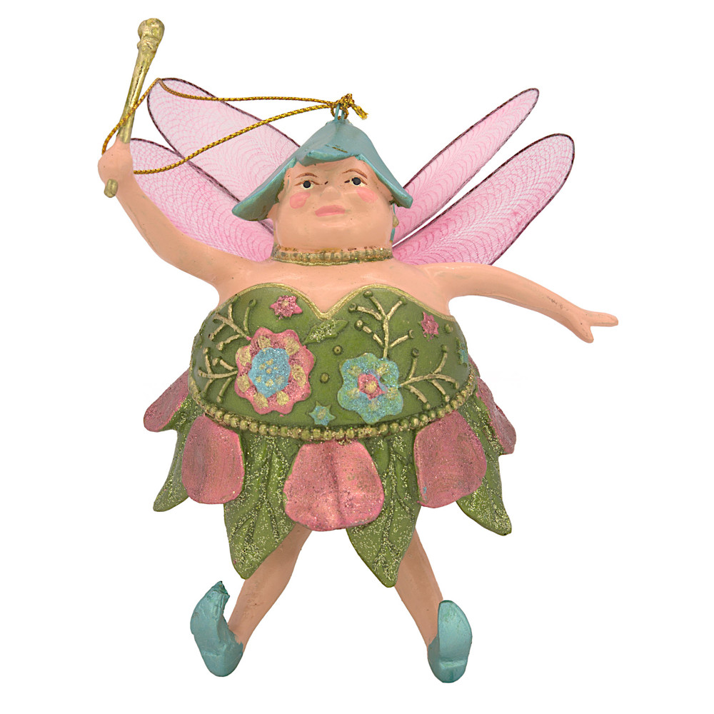 "Christbaumschmuck Figur ""Dicke Elfe"" Fee hellgrün-pink Hänger 15cm"