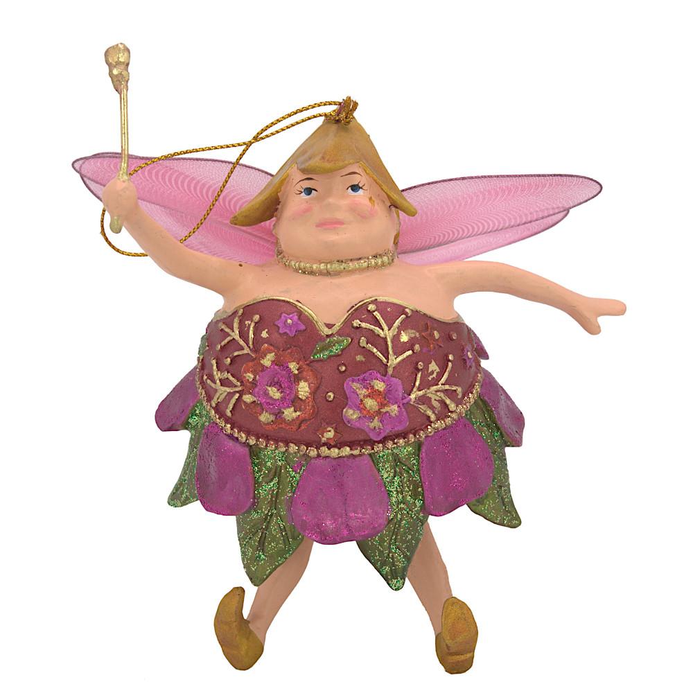 "Christbaumschmuck Figur ""Dicke Elfe"" Fee orientrot-grün Hänger 15cm"