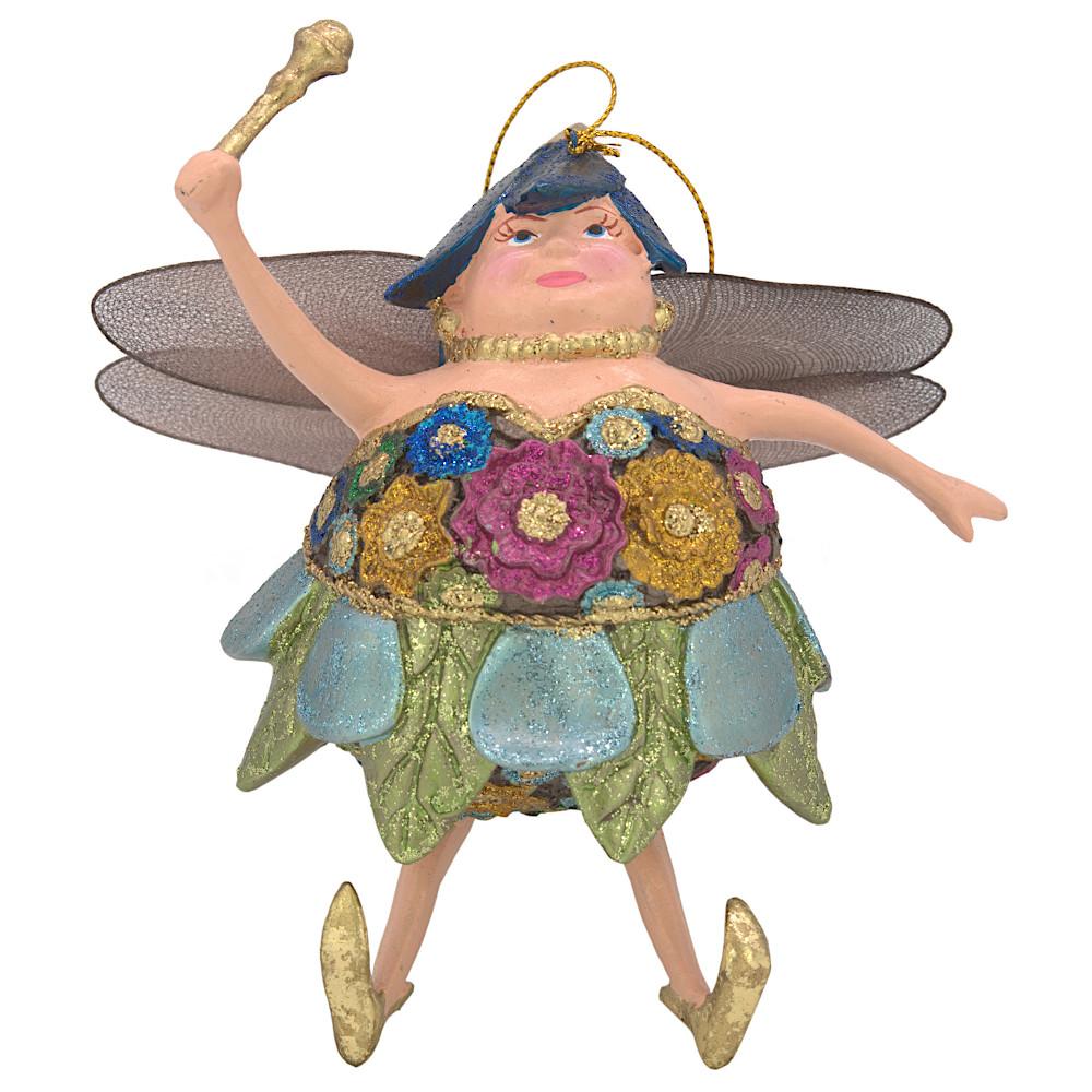 "Christbaumschmuck Figur ""Dicke Elfe"" Fee türkis-blau Hänger 15cm"