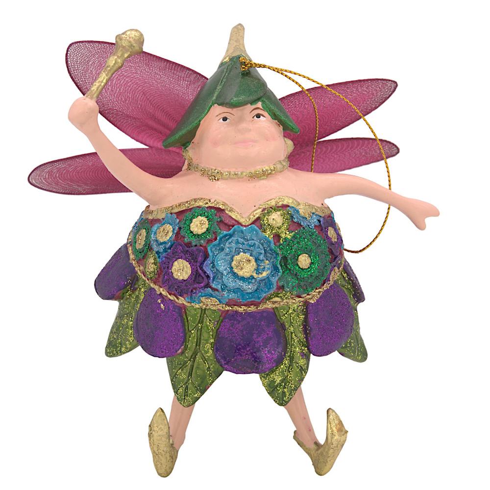 "Christbaumschmuck Figur ""Dicke Elfe"" Fee violett-grün Hänger 15cm"