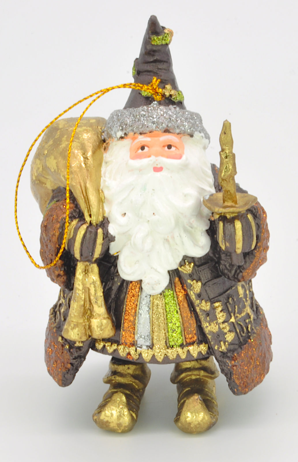Christbaumschmuck Figur Weihnachtsmann dick mit Geschenken braun gold 15cm