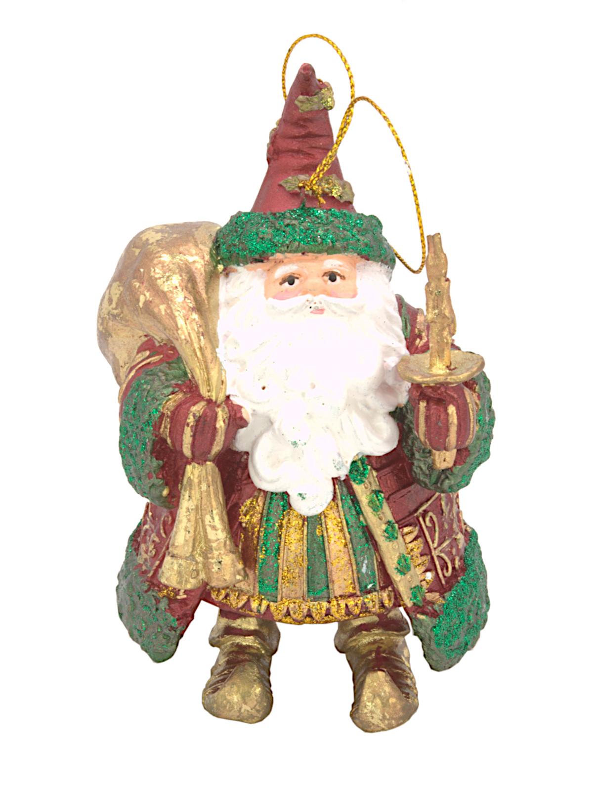 Christbaumschmuck Figur Weihnachtsmann dick mit Geschenken rot-grün 15cm