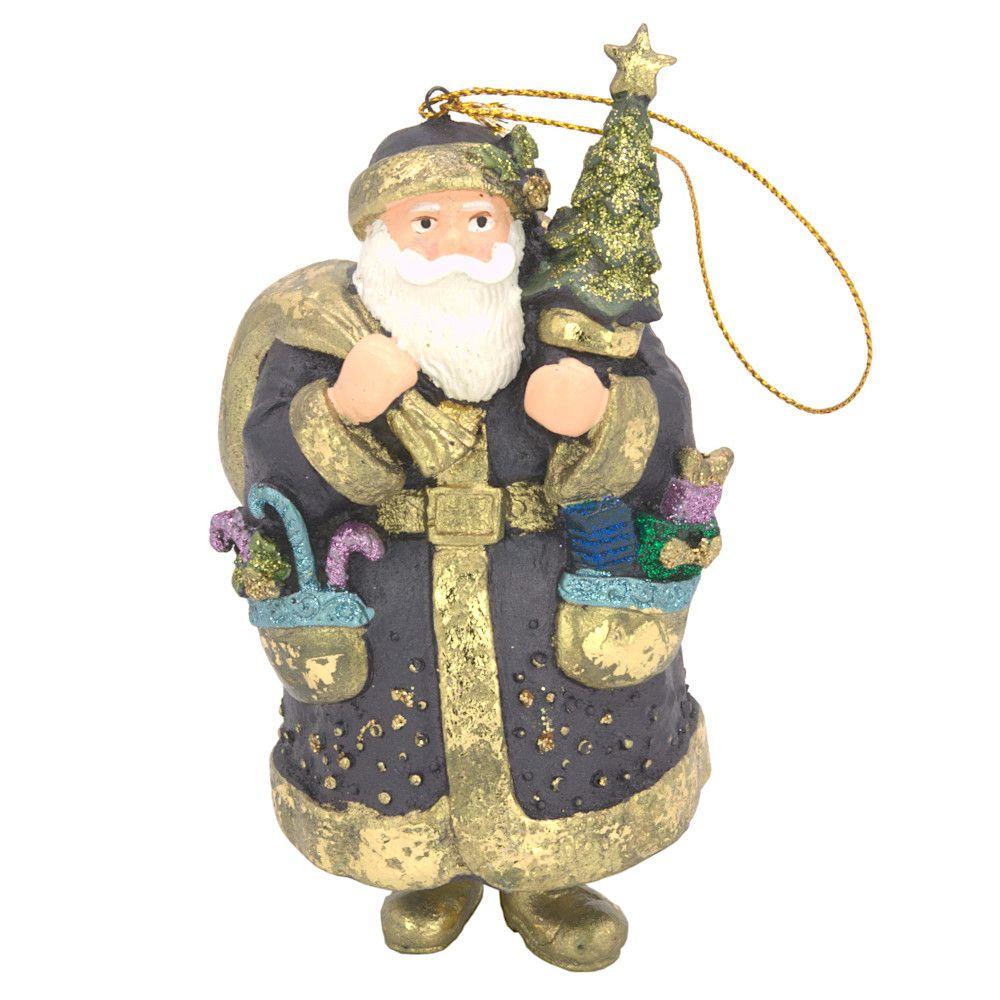 Christbaumschmuck Figur Weihnachtsmann dick mit Geschenken dunkelblau 15cm