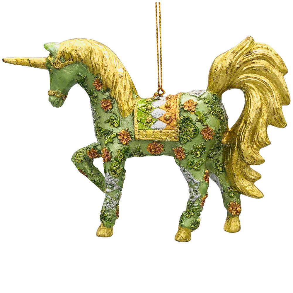 """Christbaumschmuck Figur """"Einhorn"""" Hänger mintgrün-gold Hänger 15 cm"""