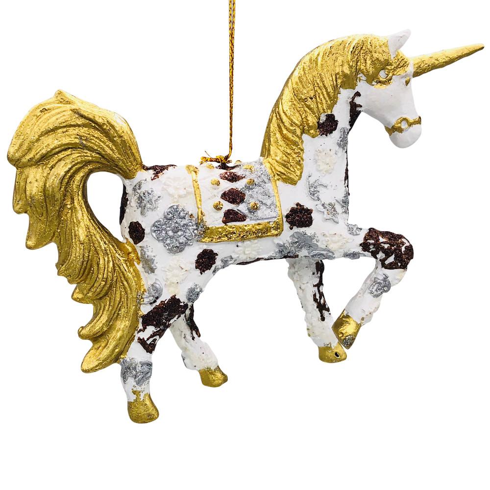 "Christbaumschmuck Figur ""Einhorn"" Hänger weiß-gold Hänger 15 cm"