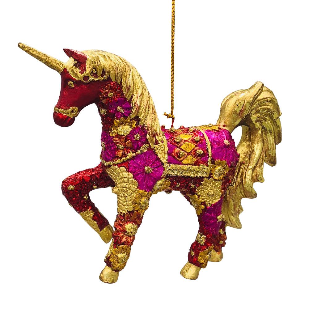 "Christbaumschmuck Figur ""Einhorn"" Hänger pink-gold Hänger 15 cm"