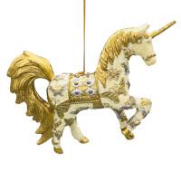"""Christbaumschmuck Figur """"Einhorn"""" Hänger creme-gold Hänger 15 cm"""
