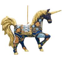 "Christbaumschmuck Figur ""Einhorn"" Hänger dunkelblau-gold Hänger 15 cm"