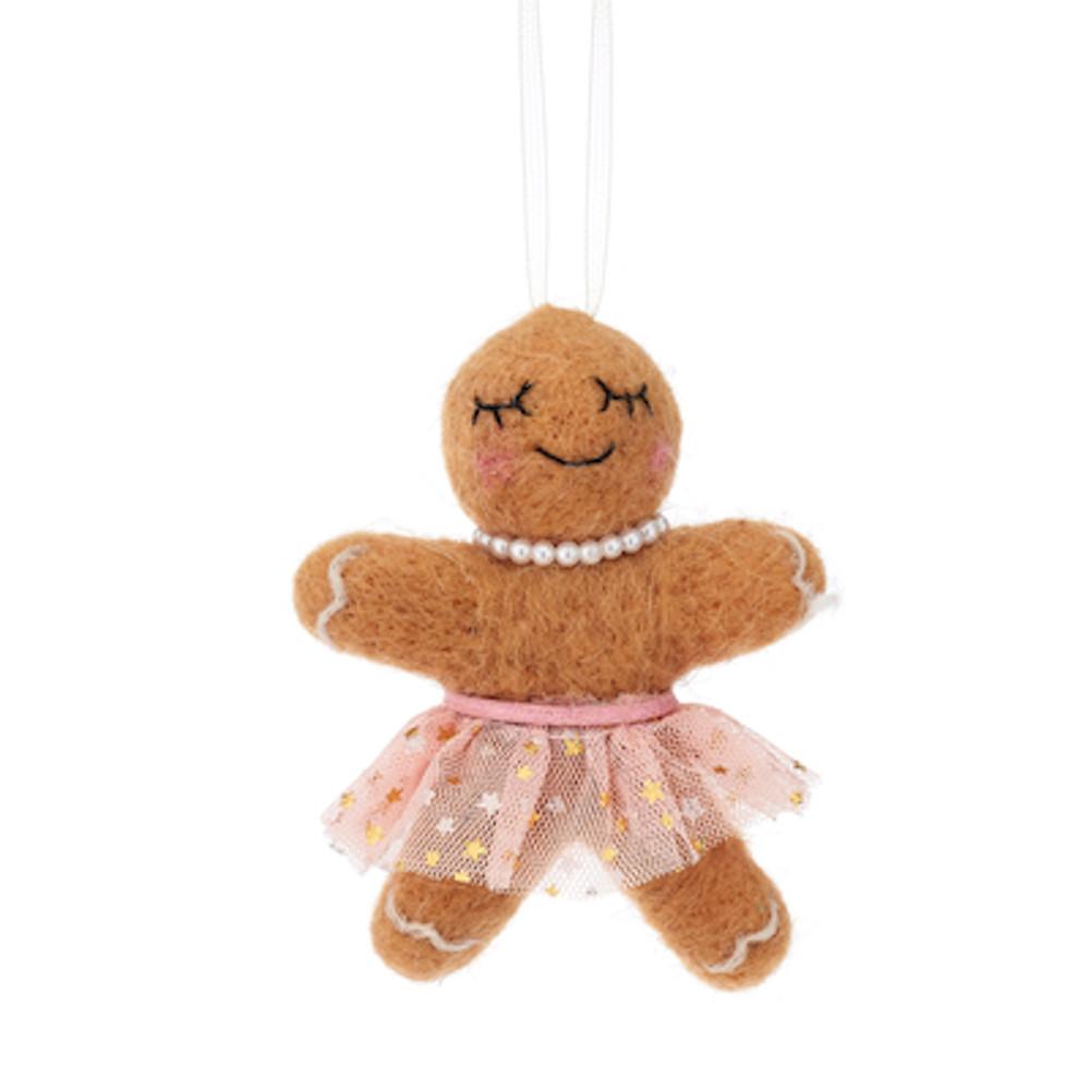 Christbaumschmuck Deko Hänger Lebkuchen Mädchen aus Filz braun rosa