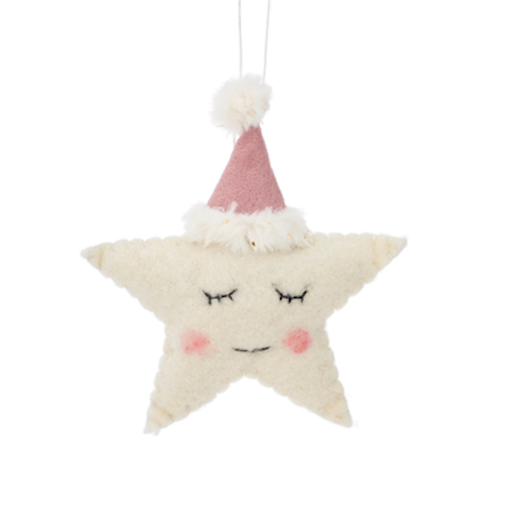 Christbaumschmuck Deko Hänger Sleeping Star Stern aus Filz weiß rosa