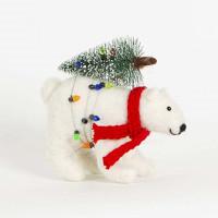 Christbaumschmuck Deko Hänger Eisbär Polar Baer mit Tannenbaum aus Filz 13cm