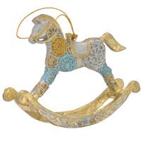 Christbaumschmuck Figur Schaukelpferd hellblau-gold Hänger 13 cm