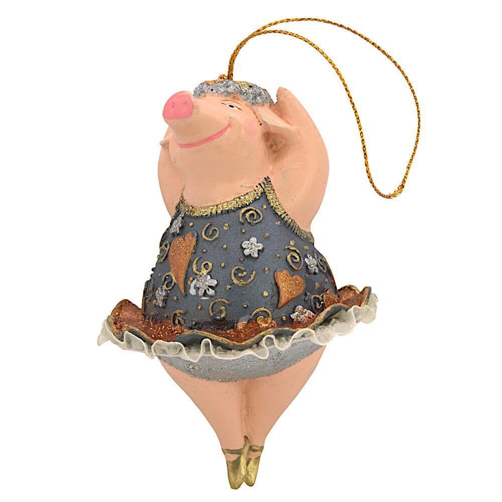 """Christbaumschmuck Figur """"Schwein"""" Hänger kupfer-blau Hänger 11 cm"""