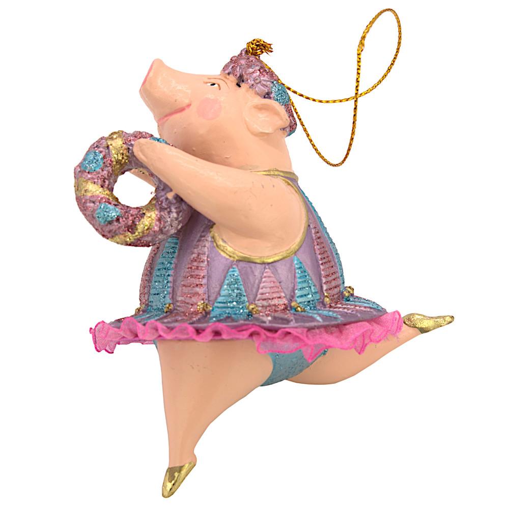"""Christbaumschmuck Figur """"Schwein"""" Hänger flieder-hellblau Hänger 11 cm"""