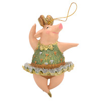 "Christbaumschmuck Figur ""Schwein"" Hänger hellgrün-silber Hänger 11 cm"