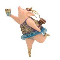 """Christbaumschmuck Figur """"Schwein"""" Hänger lila-blau Hänger 11 cm"""