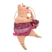 """Christbaumschmuck Figur """"Schwein"""" Hänger pink-gold Hänger 11 cm"""