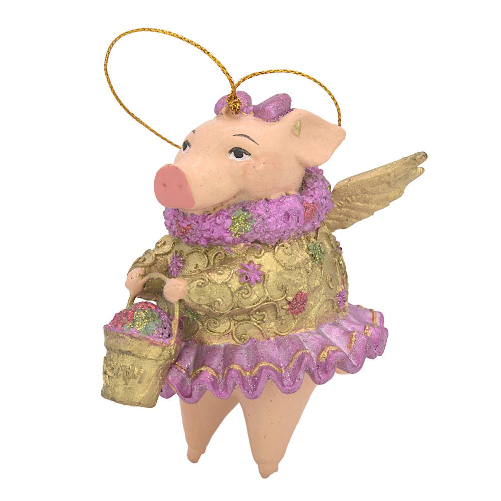 """Christbaumschmuck Figur """"Schwein mit Flügeln"""" Hänger gold Hänger 10cm"""