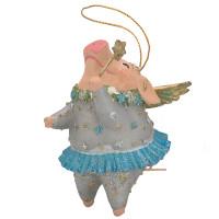 """Christbaumschmuck Figur """"Schwein mit Flügeln"""" Hänger hellblau Hänger 10cm"""