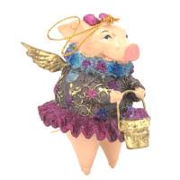 """Christbaumschmuck Figur """"Schwein mit Flügeln"""" Hänger pink-blau Hänger 10cm"""
