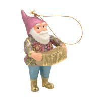 Christbaumschmuck Figur Gartenzwerg Hänger mit Akkordeon 11 cm
