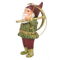 Christbaumschmuck Figur Gartenzwerg Hänger mit Hacke 11 cm