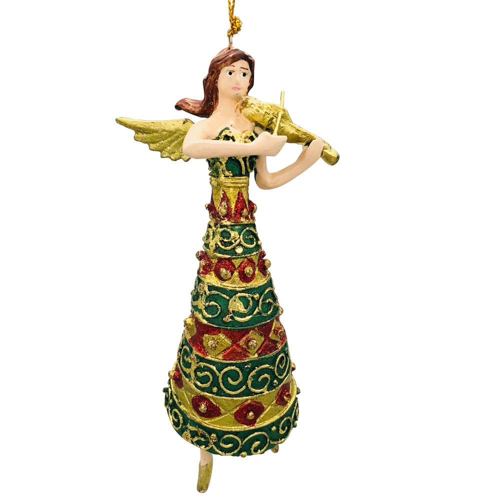 Christbaumschmuck Figur Engel mit Geige grün rot Hänger Baumschmuck 16cm