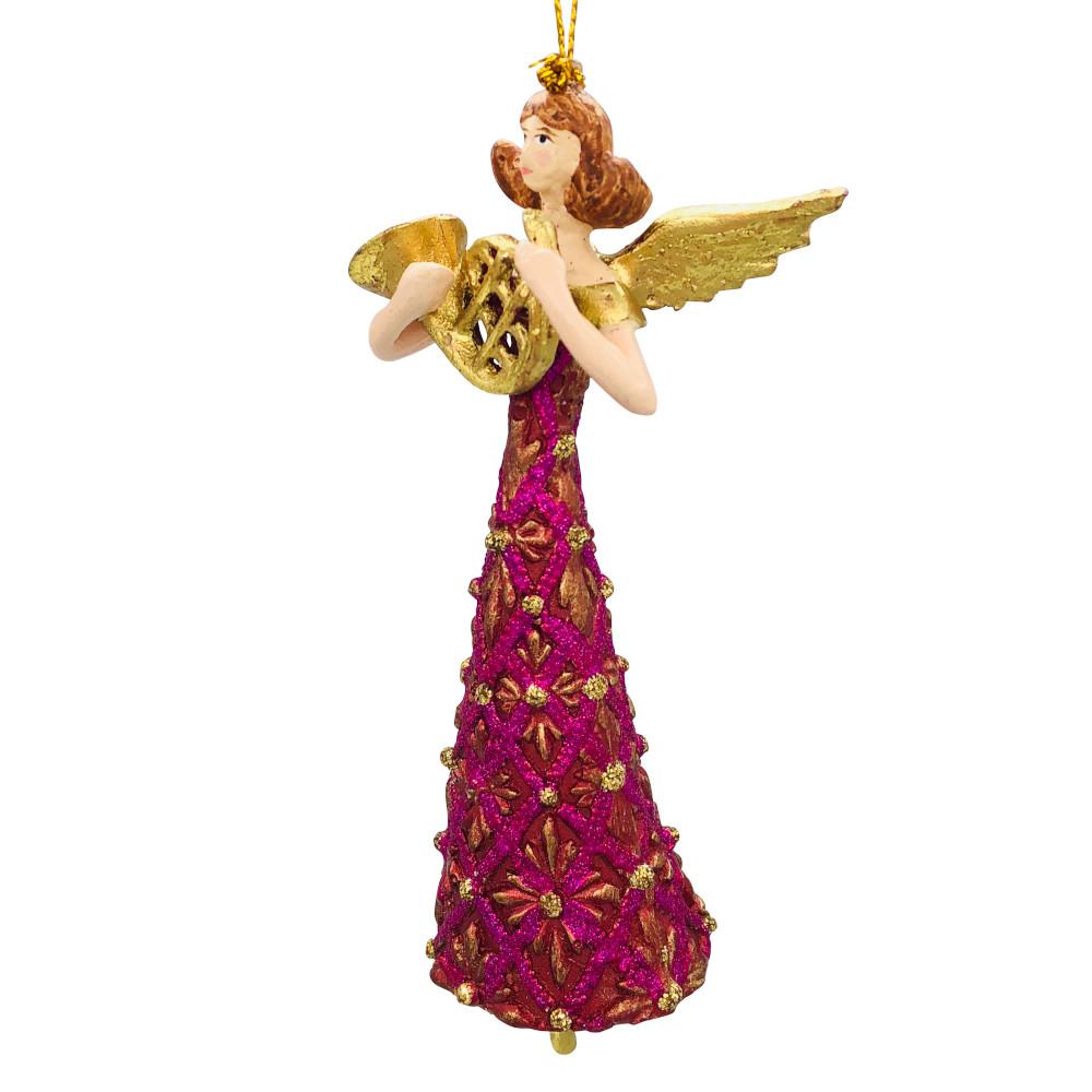 Christbaumschmuck Figur Engel mit Horn rot gold Hänger Baumschmuck 16cm