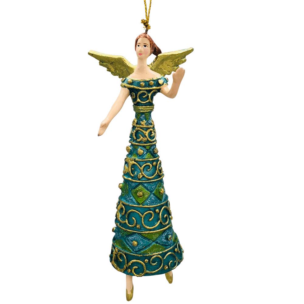 Christbaumschmuck Figur Engel grün türkis Hänger Baumschmuck 16cm