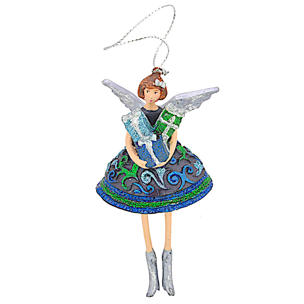 Christbaumschmuck Figur Engel mit Geschenk blau Hänger Baumschmuck 12cm