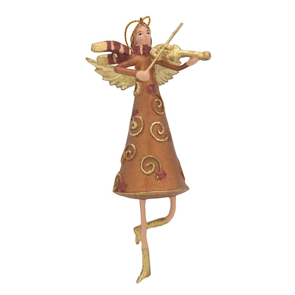 Christbaumschmuck Figur Engel mit Geige kupfer Hänger Baumschmuck 15cm