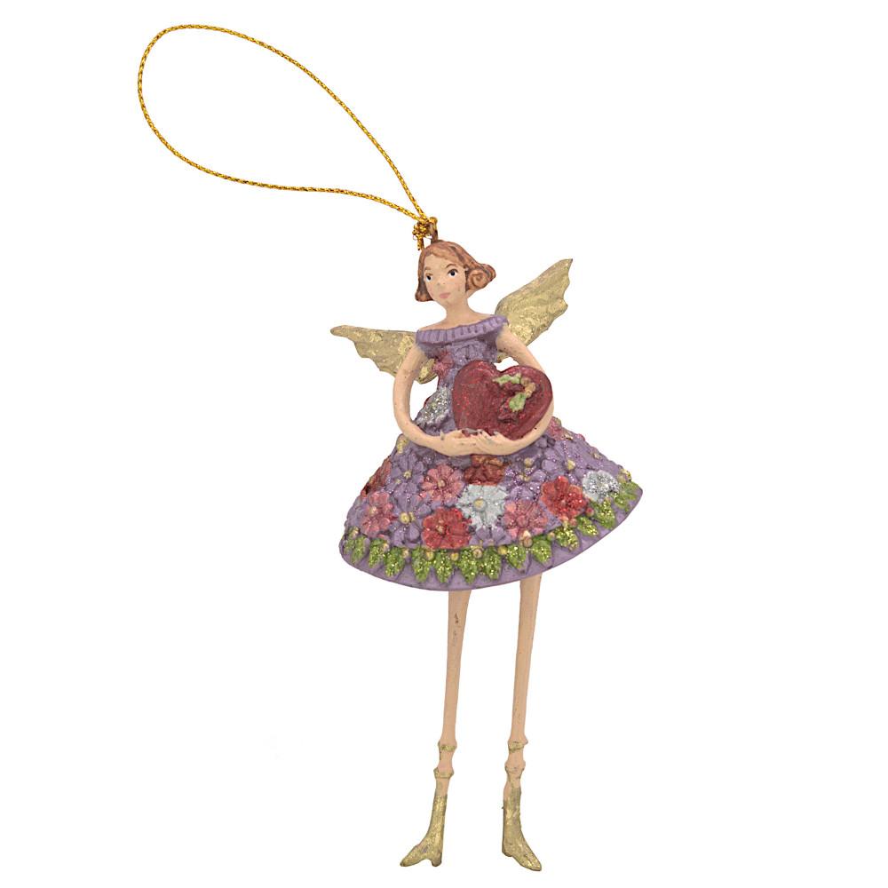 Christbaumschmuck Figur Engel mit Herz rosa Hänger Baumschmuck 12cm