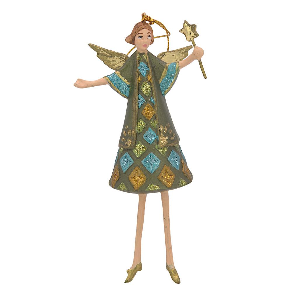 Christbaumschmuck Figur Engel mit Stern grün Hänger Baumschmuck 15cm