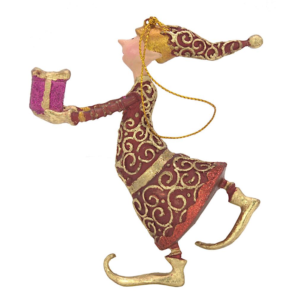 Christbaumschmuck Figur Gabenträger Hänger Baumschmuck rot-gold 13 cm