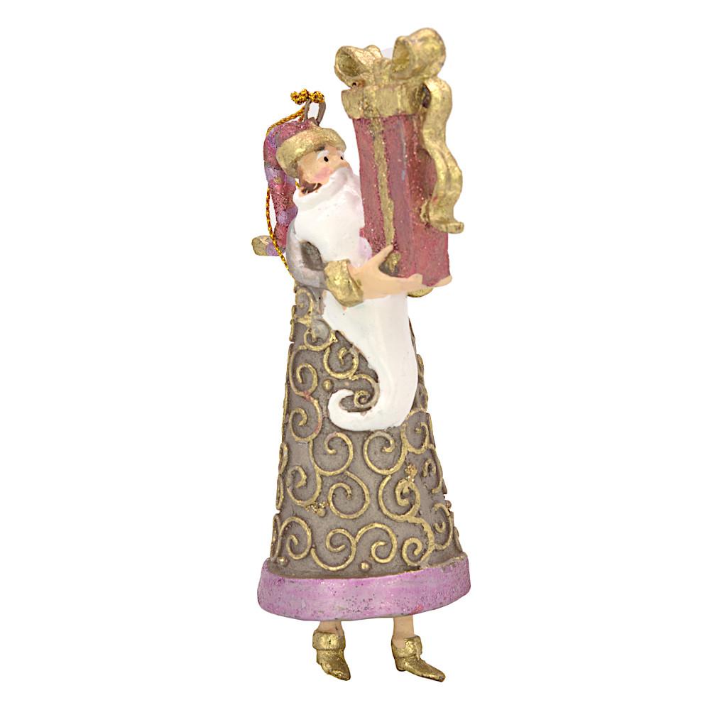 Christbaumschmuck Figur Weihnachtsmann Gabenträger Hänger rosa-gold 14 cm