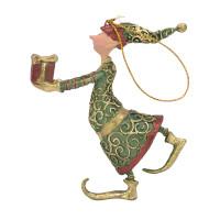 Christbaumschmuck Figur Gabenträger Hänger Baumschmuck grün-gold 13 cm