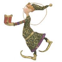 Christbaumschmuck Figur Gabenträger Hänger Baumschmuck grün-lila 13 cm