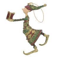 Christbaumschmuck Figur Gabenträger Hänger Baumschmuck grün-rot-gold 13 cm