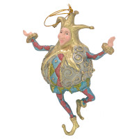 Christbaumschmuck Figur Harlekin Dick Deko Hänger blau grün gold
