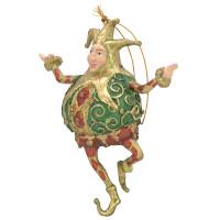Christbaumschmuck Figur Harlekin Dick Deko Hänger grün rot gold