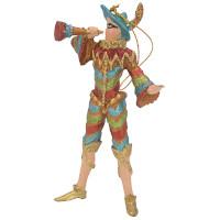 Christbaumschmuck Figur Harlekin mit Fanfare Deko Hänger gold blau rot 14cm