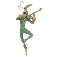 Christbaumschmuck Figur Harlekin mit Geige Deko Hänger türkisblau gold 16cm