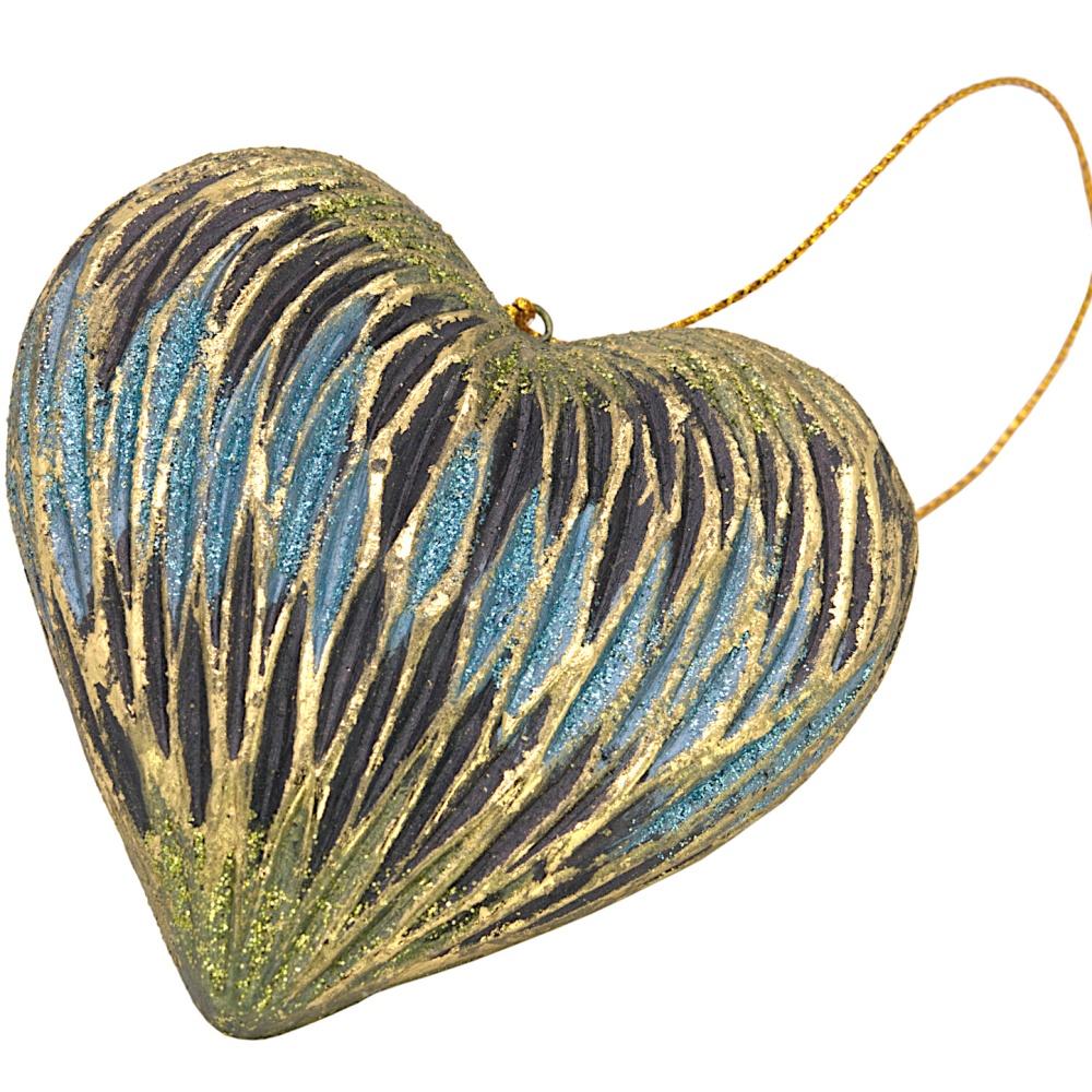 Christbaumschmuck Figur Deko Herz breit blau-gold Hänger