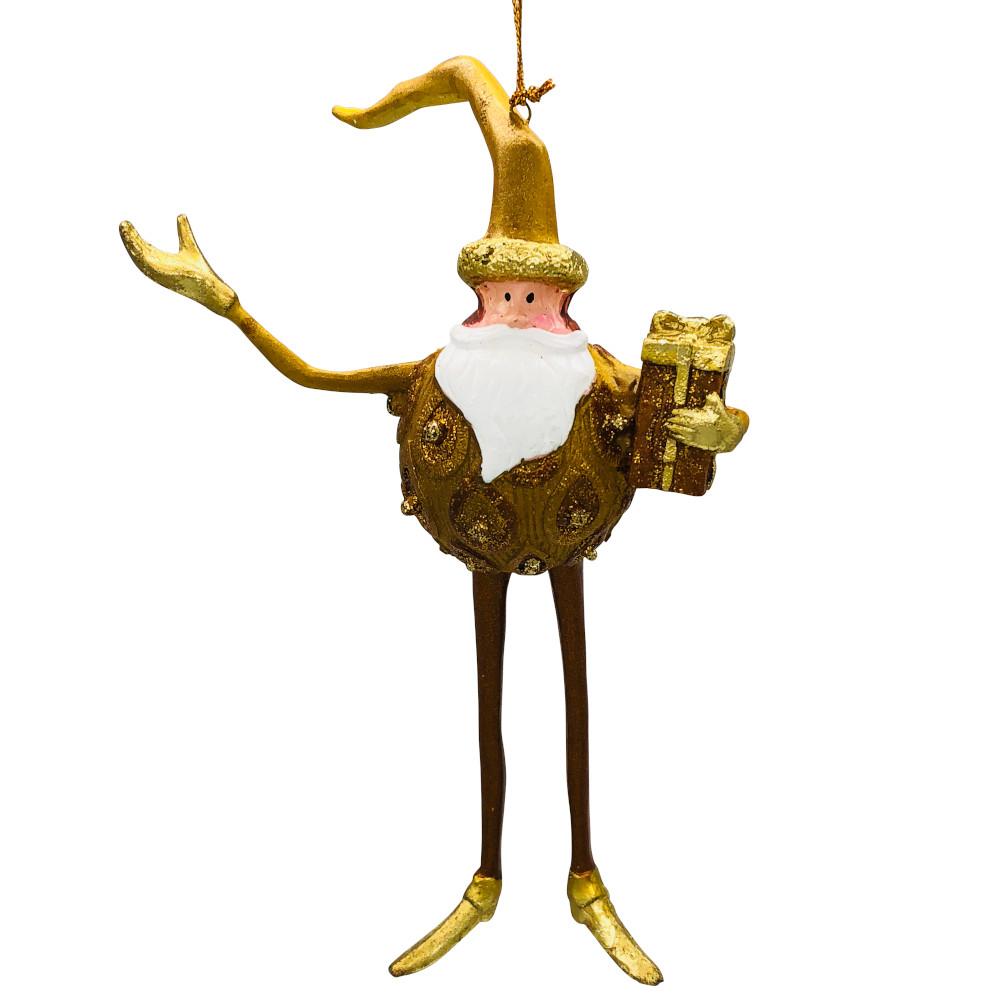 Christbaumschmuck Figur Weihnachtsmann Hänger Baumschmuck gold 18 cm