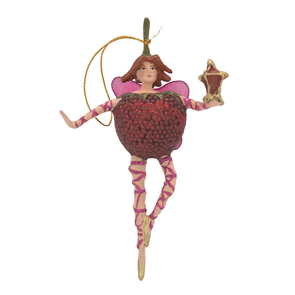 Christbaumschmuck Figur Obstelfe Himbeere Elfe Anhänger Baumschmuck 15cm