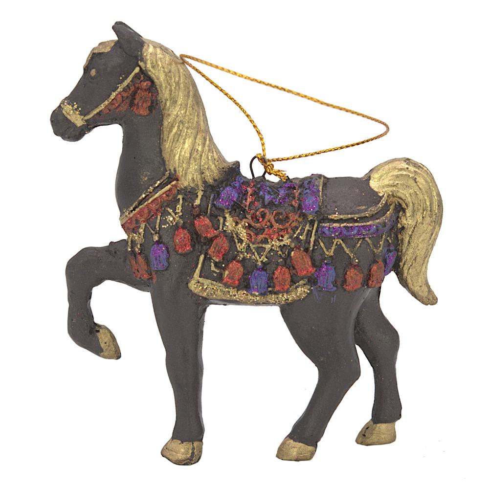 """Christbaumschmuck Figur """"Bezauberndes Pferd"""" aubergine-gold Hänger 11 cm"""
