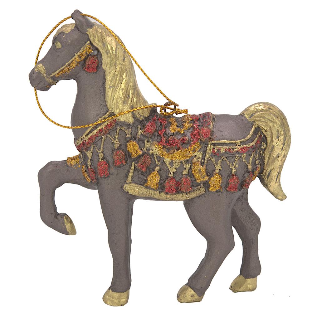 """Christbaumschmuck Figur """"Bezauberndes Pferd"""" braun-gold Hänger 11 cm"""