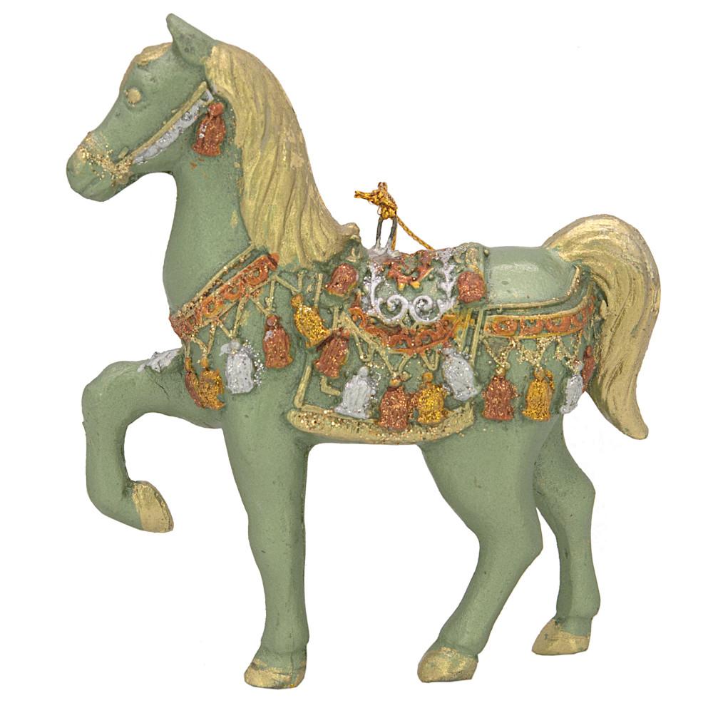 """Christbaumschmuck Figur """"Bezauberndes Pferd"""" mint-gold Hänger 11 cm"""